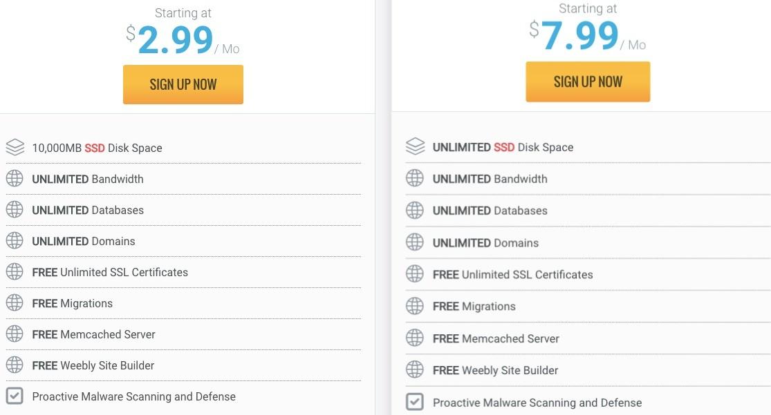 Bảng giá share hosting của Hawkhost