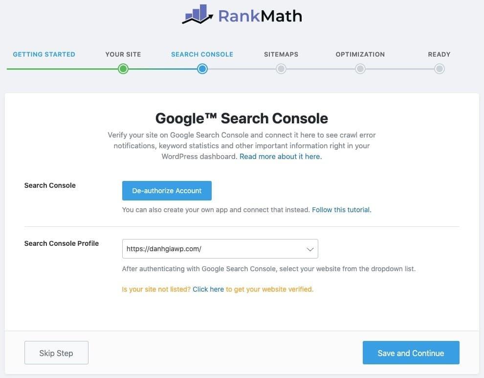 Kết nối với Google Search Console