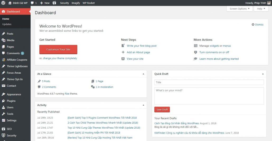 Giao diện quản lý blog wordpress của bạn có thể trông như thế này
