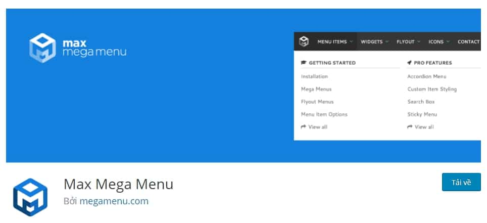Plugin tạo menu wordpress: Max Mega Menu