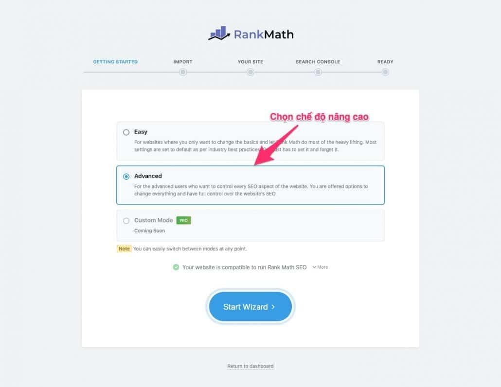 Bắt đầu Rank Math bằng cách bấm Start Wizard
