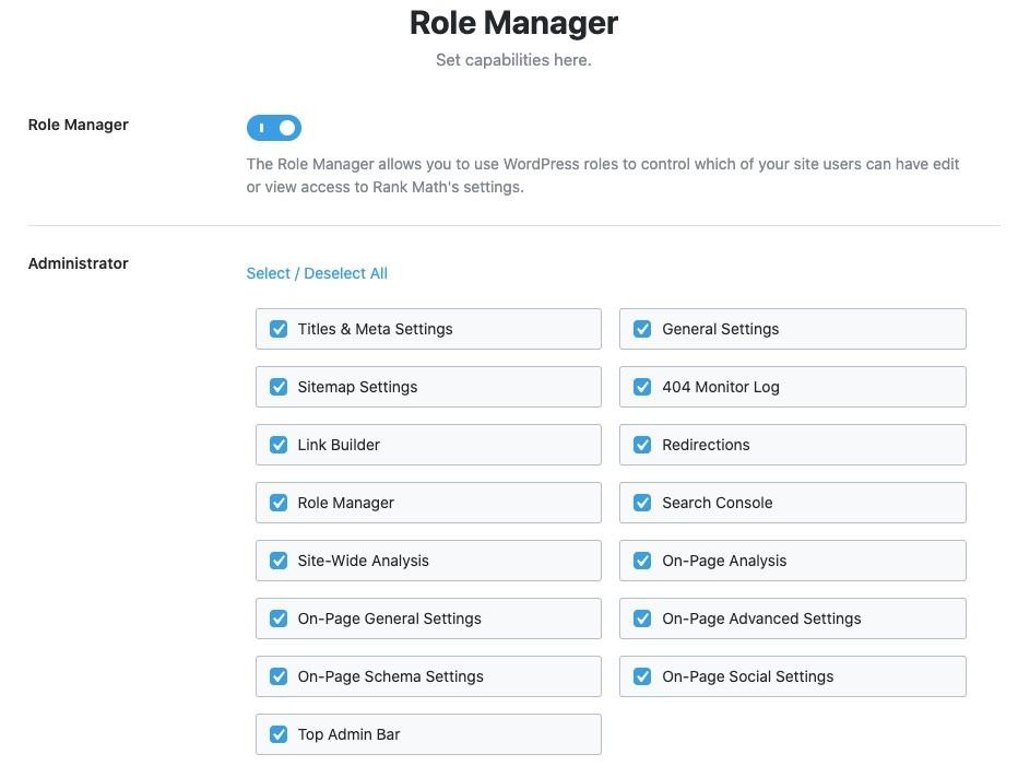 Thiết lập vai trò quản lý Rank Math