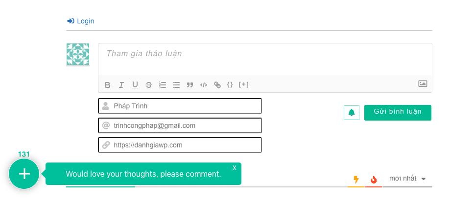 Phần hiển thị comment wpdiscuz plugin
