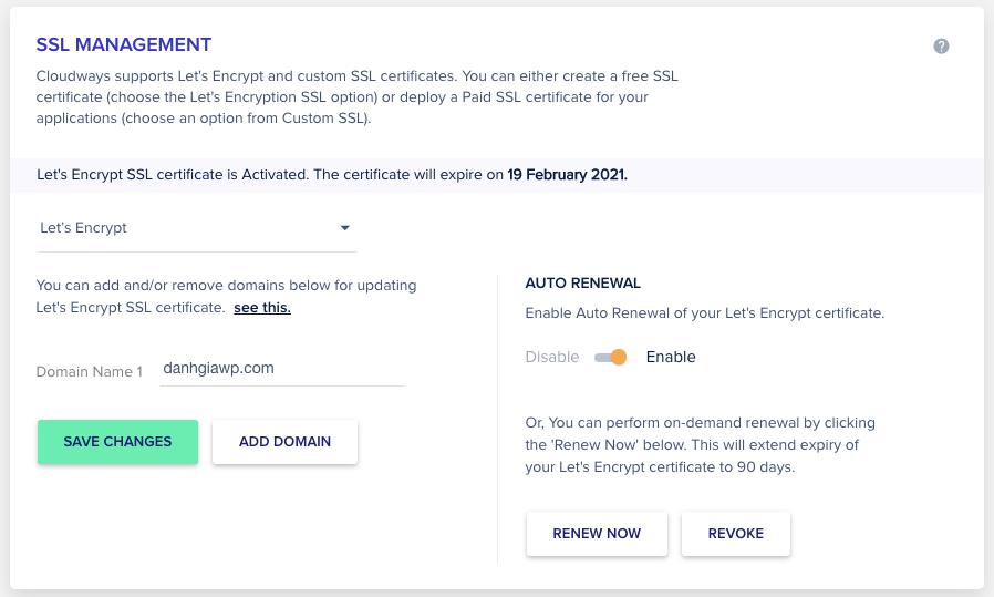 Cài SSL miễn phí từ Let's Encrypt