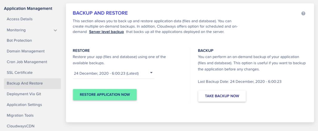 Backup và restore dữ liệu Cloudways