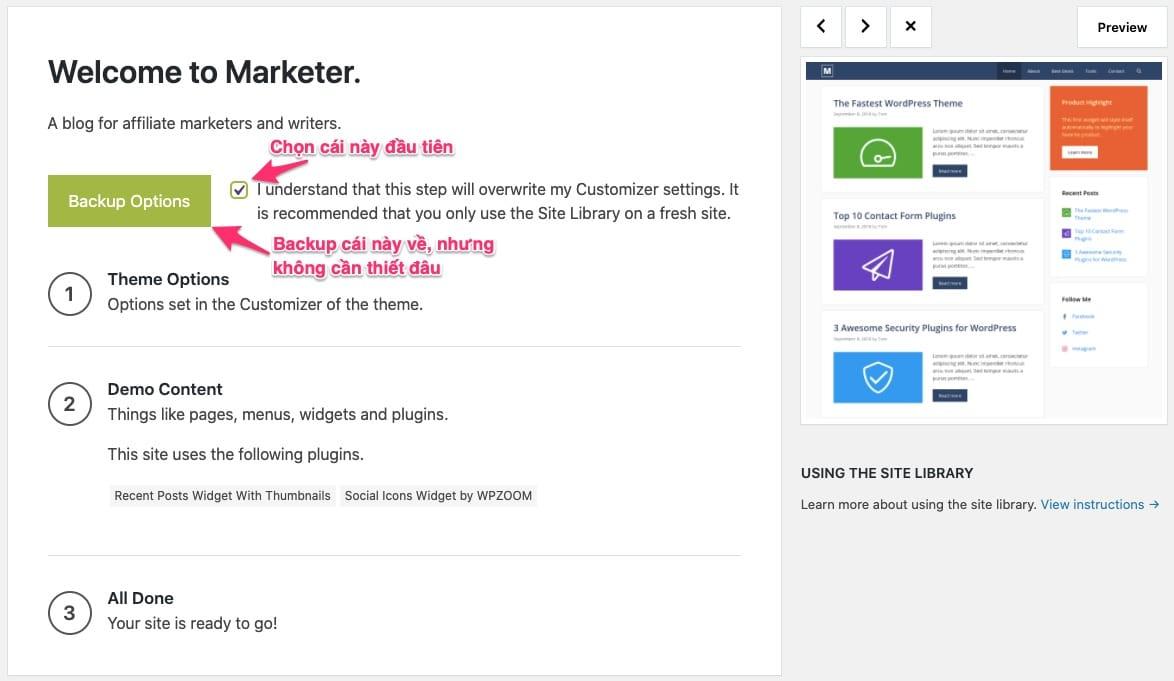 Cài demo GeneratePress Site Library