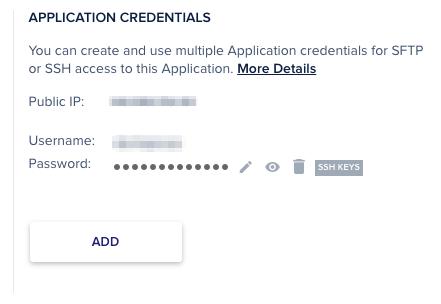 Tên đăng nhập và mật khẩu SFTP tại Cloudways