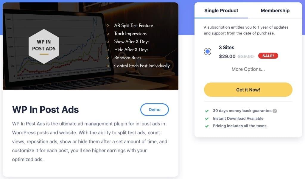 WP In Post Ads plugin