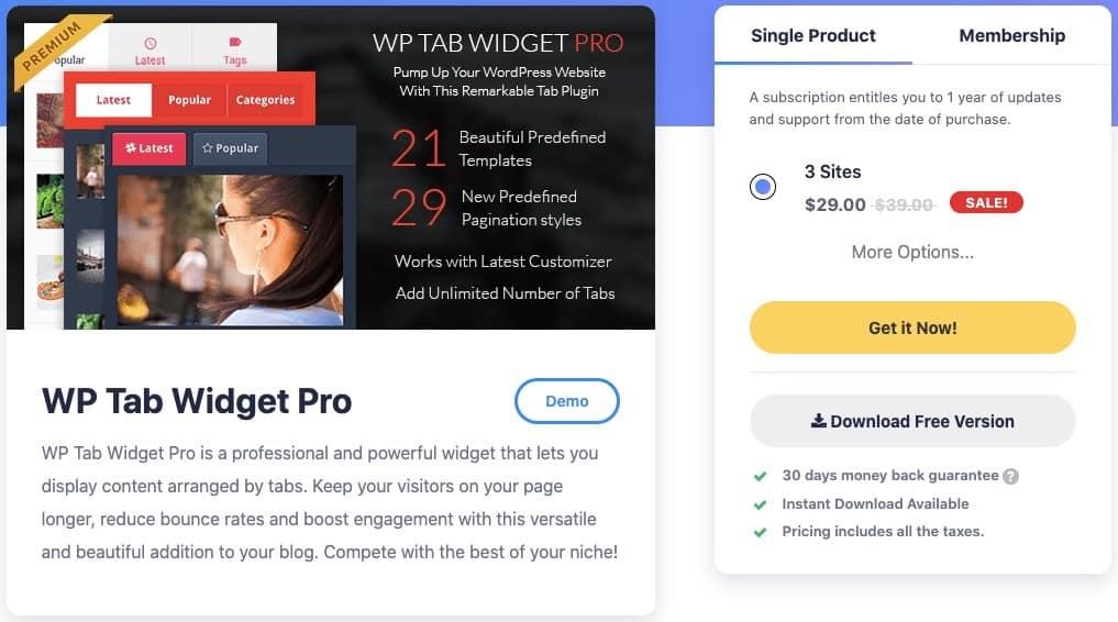 WP Tab Widget Pro plugin