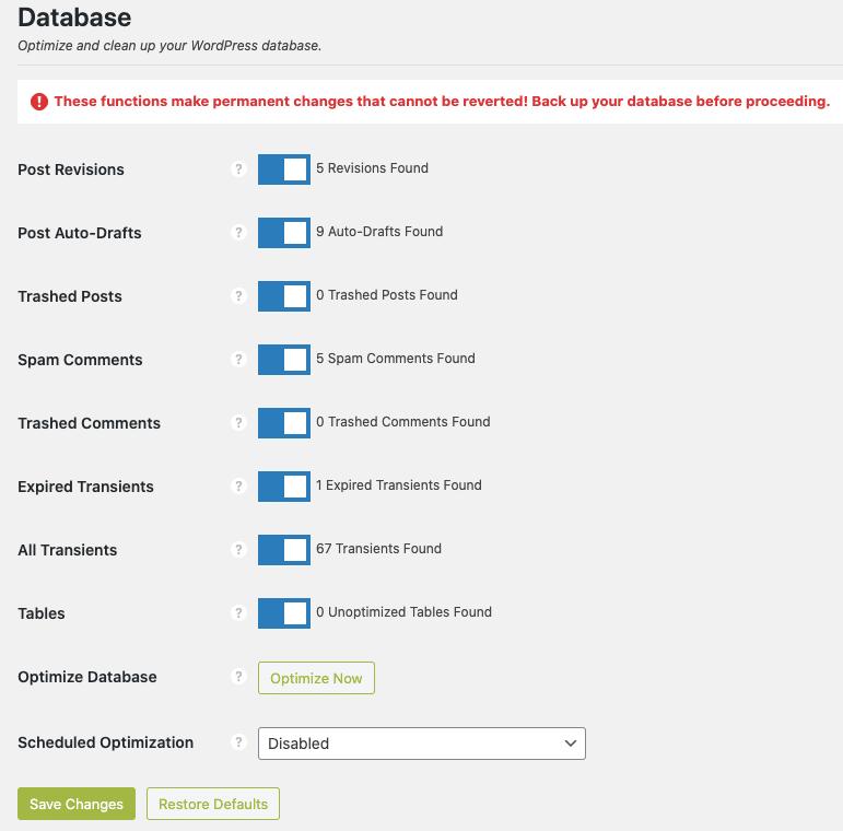 Dọn dẹp database bằng Perfmatters
